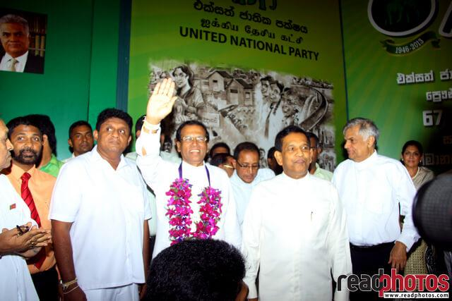 Sri Lanka Presidential election, Common candidate first appearance in UNP headquarters, 2014 (2) - Read Photos
