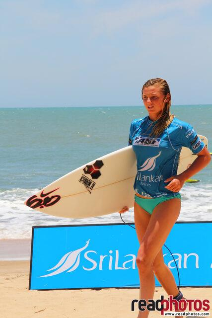 Surfing blue girl, Arugambe, Sri Lanka