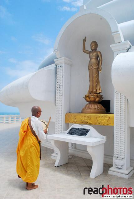Buddhist monk, worshiping a pagoda, Sri Lanka