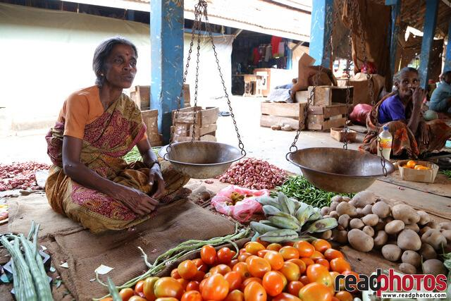 Lady vegetable seller,  Sri Lank - Read Photos