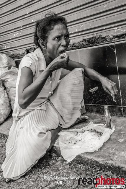 Women in street, black and white, Sri Lanka