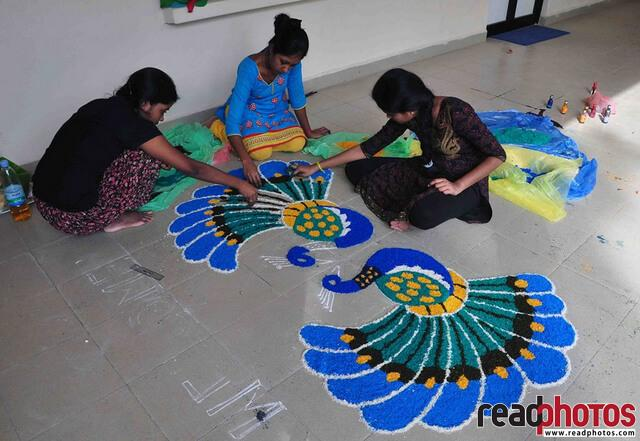 Kolam art creation, Sri Lanka