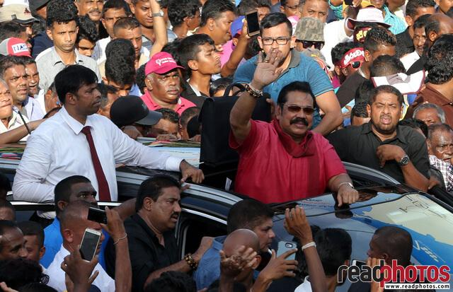 Mahinda Rajapaksha arriving to a protest, Jana balaya, 2018 (3) - Read Photos