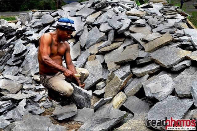 Man working with stones, Sri Lanka - Read Photos