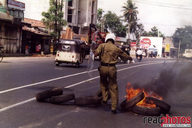 Opposition protest in 90s, Sri Lanka, 1994