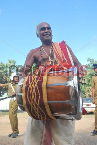 Thavil player, Jaffna in Sri Lanka