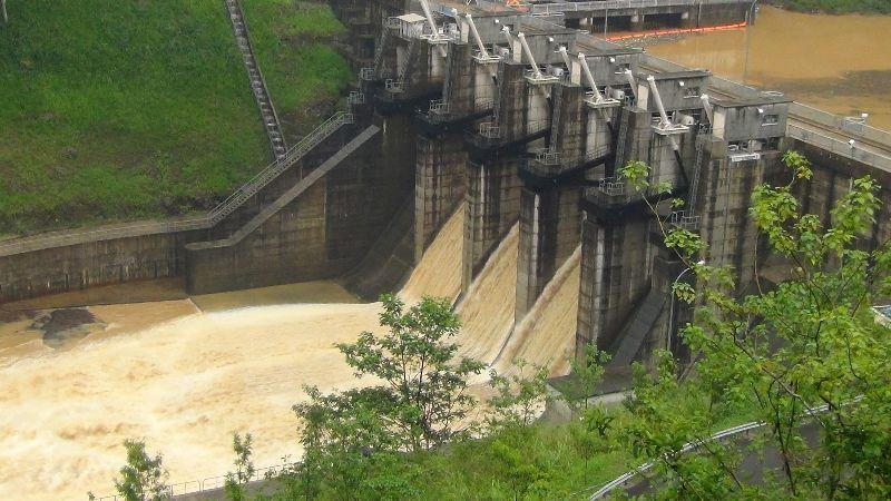 Opening of the sluice gates of the Upper Kotmale Reservoir due to the severe weather conditions