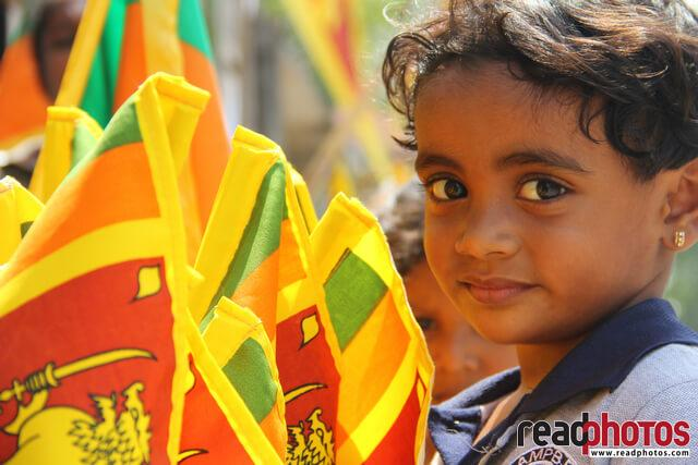 National flag, Sri Lanka, Little girl  - Read Photos