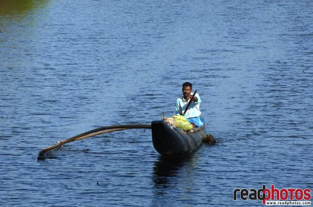 Rowing man on the lake, Sri Lanka