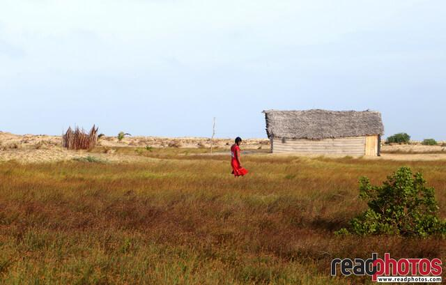 Walking girl, seaside, Sri Lanka - Read Photos
