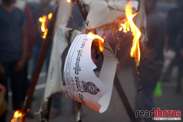 Civil society activist protest, burning, Sri Lanka, 2018