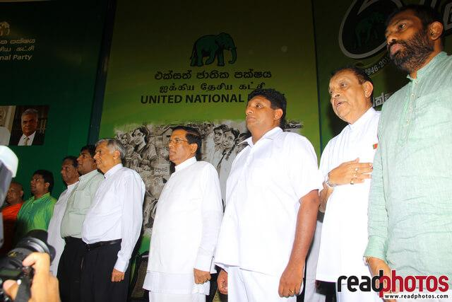 Sri Lanka Presidential election, Common candidate first appearance in UNP headquarters, 2014 (4)