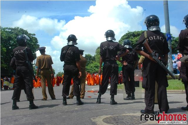 Police force during a protest, Sri Lanka