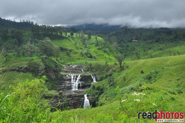 Beautiful waterfall, cloudy sky  Sri Lanka