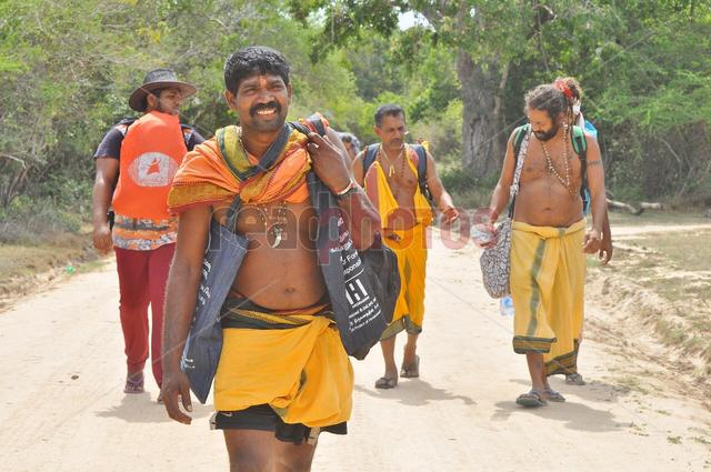 Devotees, Journey to katharagama by foot (2) in Sri Lanka