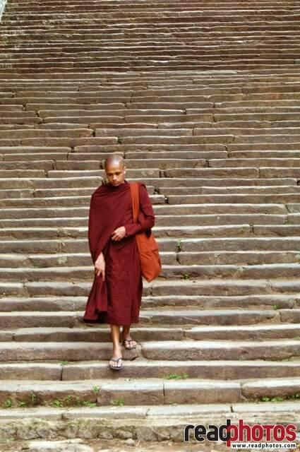 Monk, Stone steps, Sri Lanka