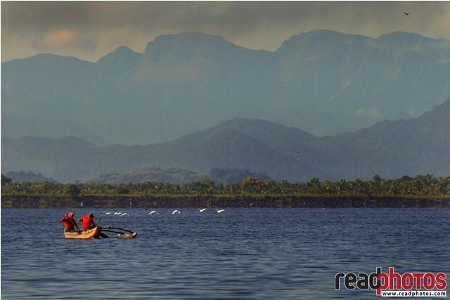 Lake,canoes, people, birds and mountains, Sri Lanka