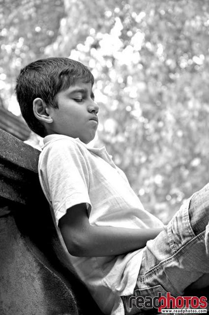 Meditating young boy, Black and White, Sri Lanka
