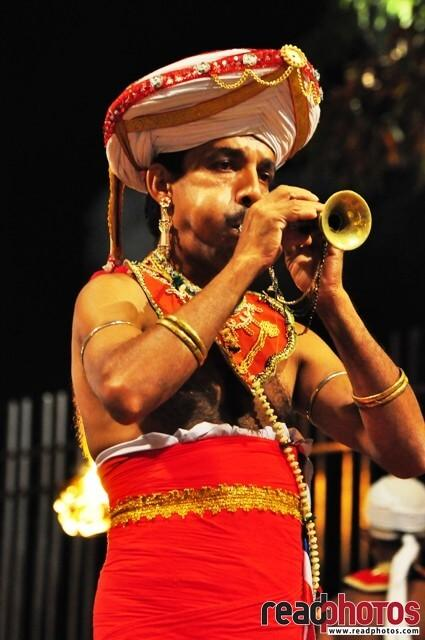 Traditional Sri Lankan flute player