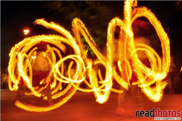 Fireball spinners in a cultural event in Sri Lanka