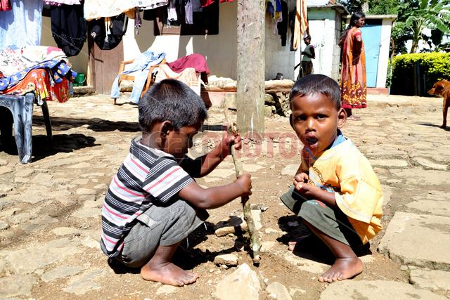 Two little boys playing, Sri Lanka