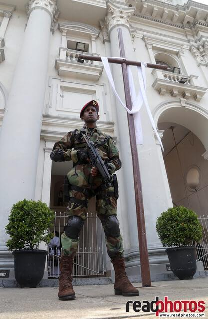 Army guards at a church