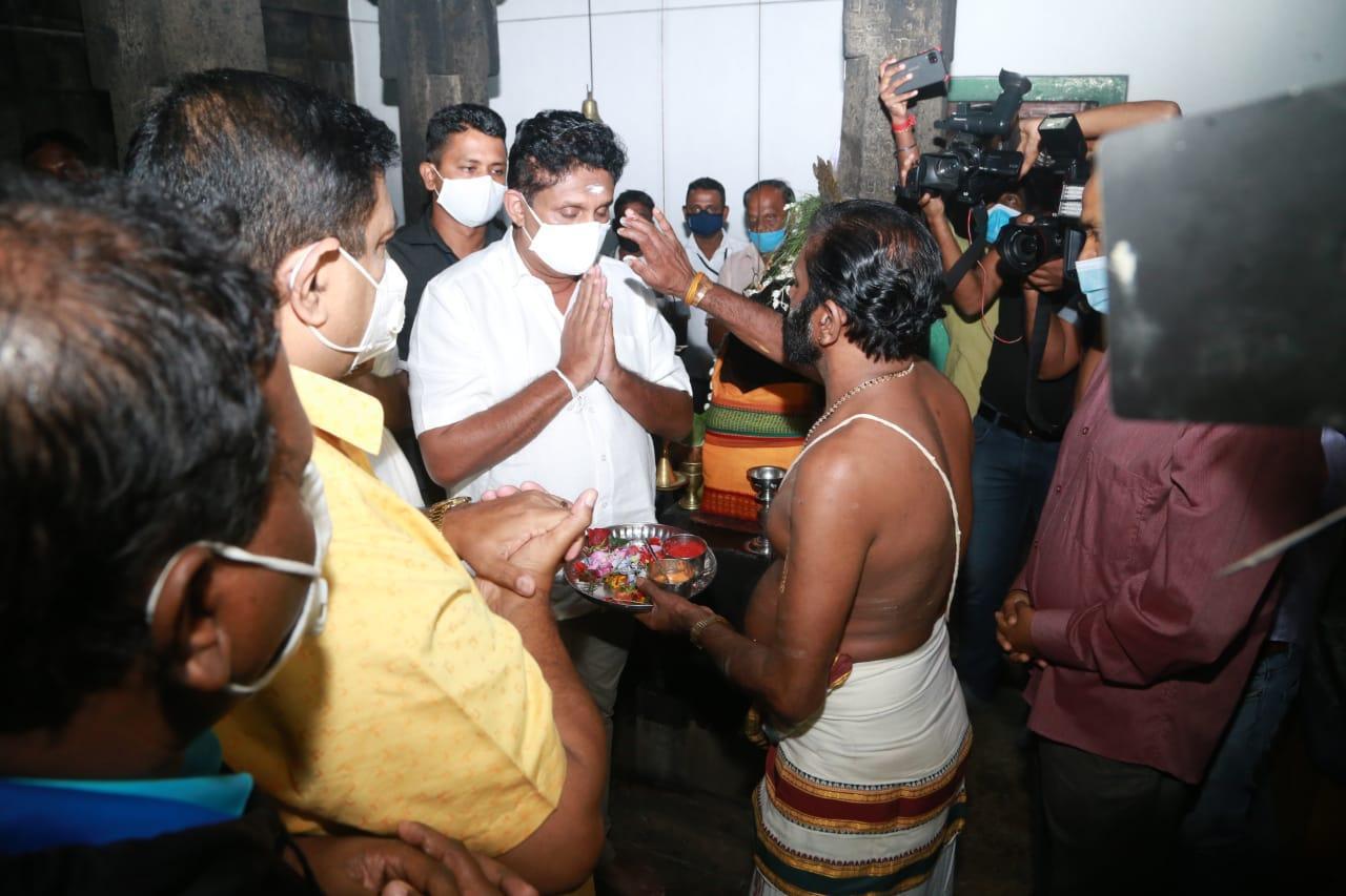 20/12/2020 Sajith Premadasa at Sri Kadirawelayudam Kovil Haputale