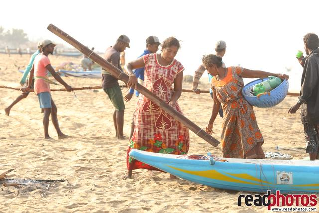 Working women on the beach,fisherwoman, Sri Lanka