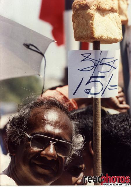 Protest against government for increasing bread price 1996, Sri Lanka