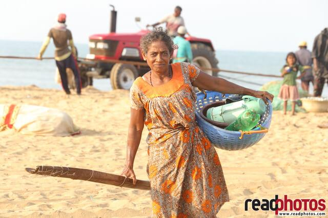 Hard working women, sea side, northern province, Sri Lanka