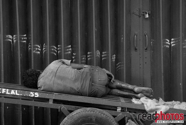 Sleeping Laborer, Pettah, Sri Lanka  - Read Photos