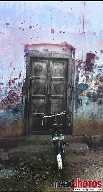 Door and a bicycle, Jaffna, Sri Lanka