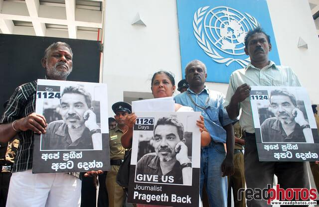 Protest for missing journalist Prageeth Eknaligoda in front of the UN, Sri Lanka